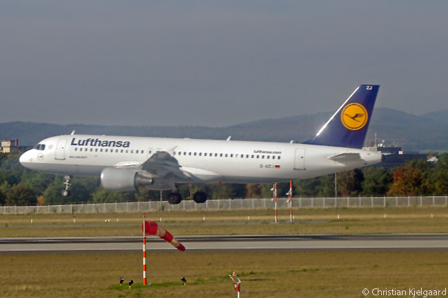 Lufthansa Airbus A320 D-AIZJ lands on Frankfurt Airport's Runway 25R, which is used only for landings. The aircraft is one of 89 A320s operated by or on order for Germany's largest airline