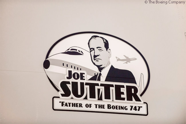 """The 30th new Boeing 747 freighter delivered to Luxembourg's Cargolux Airlines International, a 747-8F, carries a decal honoring Joe Sutter, """"Father of the Boeing 747,"""" the Boeing engineer who led the team that designed the 747"""