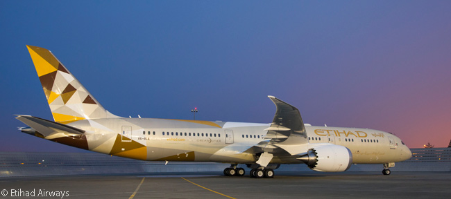 Abu Dhabi-based Etihad Airways first revealed its new livery, which is based on desert colors, in late 2014 on its first Boeing 787-9 and Airbus A380 deliveries