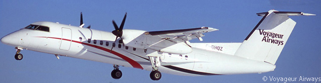The Dash 8-300 is one of three regional-airliner types in Voyageur Airways' fleet which can seat up to 50 passengers. The others are the Bombardier CRJ200 and the de Havilland Canada Dash 7