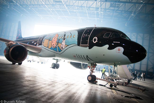On March 16, 2015, Brussels Airlines and design studio Moulinsart unveiled an Airbus A320 wearing a Tintin-themed livery, to honor Hergé, one of Belgium's most famous authors and artists
