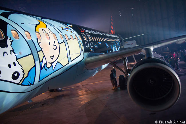 The special livery adorning the Brussels Airlines A320 named 'Rackham' features detailed paintings of Tintin and his dog Snowy