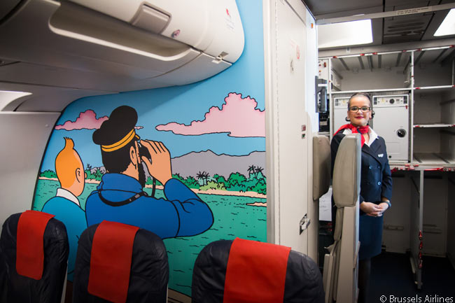Interior bulkhead in the special Tintin-themed Brussels Airlines A320 'Rackham' have been painted with Tintin color drawings
