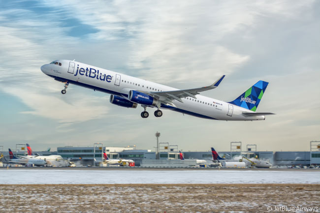 A JetBlue Airways Airbus A321 is photographed taking off from New York JFK