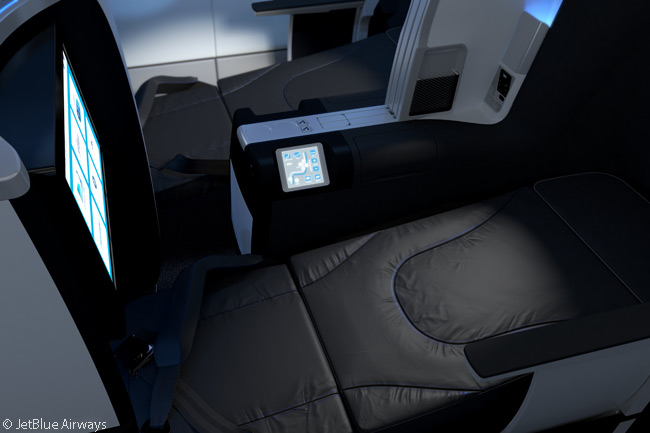 All of the seats in JetBlue Airways' Mint premium-class cabins recline to become fully flat beds
