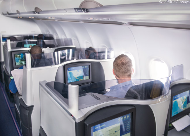 The premium-class seats in the Airbus A321s which operate JetBlue Airways' 'Mint' services are like those other airlines offer in their intercontinental Business Class cabins