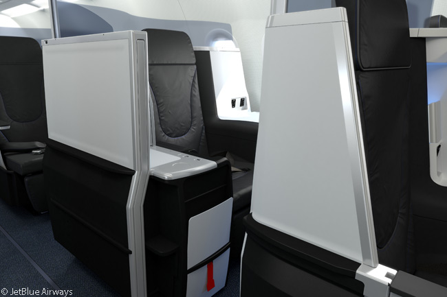 JetBlue Airways Mint premium-class cabins have a number of individual private suites among their intercontinental business class-style seats