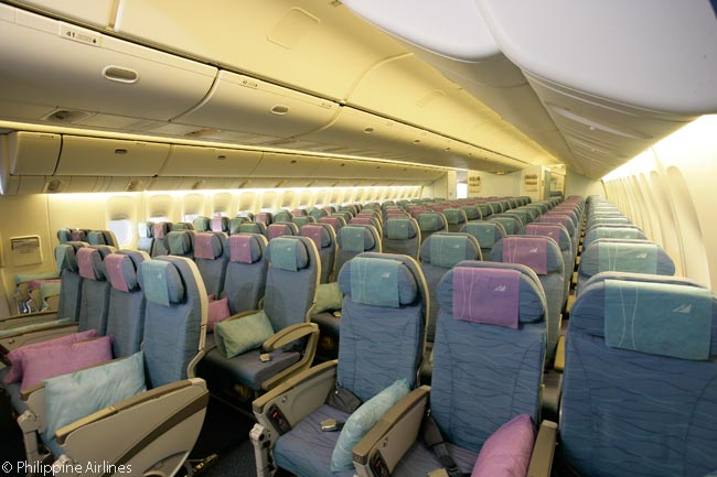 The Economy Class cabins in Philippine Airlines' Boeing 777-300ERs have 10-abreast seat rows, like the 777-300ERs of most other airlines