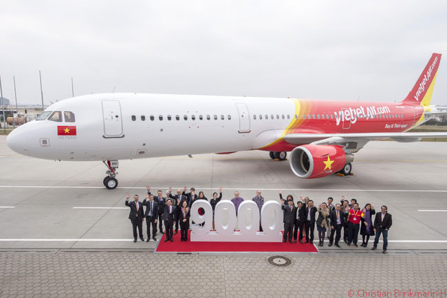 On March 20, 2015, Airbus delivered its 9,000th commercial jet. The aircraft in question was the first of seven new Airbus A321s for Vietnamese low-cost carrier VietJetAir