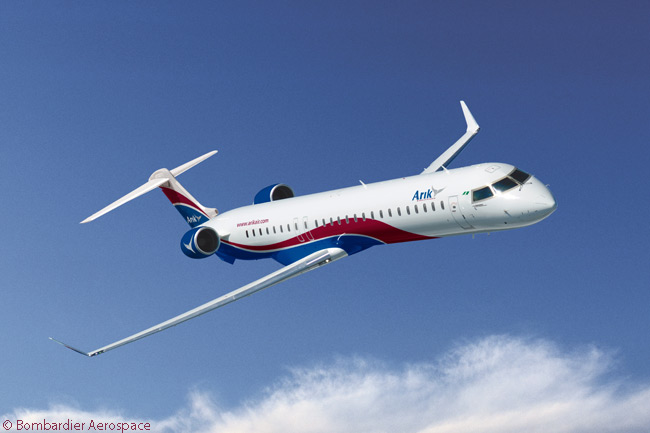 Bombardier Aerospace announced on March 30, 2015 that Nigerian carrier Arik Air had put into service a Bombardier CRJ1000 NextGen regional jet with three-abreast business-class seating, a first for the type