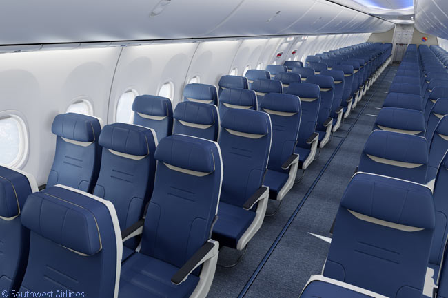 The new seat-row design unveiled by Southwest Airlines and seat manufacturer B/E Aerospace on April 14, 2015 for the carrier's future Boeing 737-800 and 737 MAX deliveries are upholstered with eLeather, a composition leather made of natural leather fibers