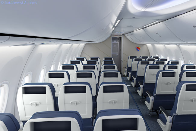 Southwest Airlines' new 737-800 and 737 MAX seats, unveiled on April 14, 2015, are wider than its current seats and include an adjustable headrest and increased legroom, as well as more personal stowage, while decreasing the overall weight of the product