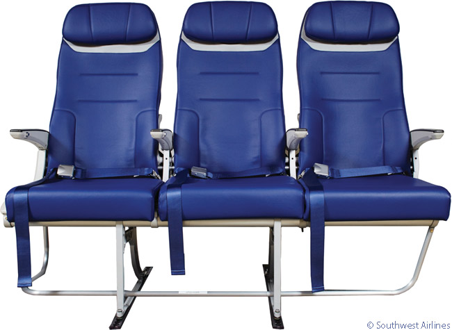 Southwest Airlines commissioned a new seat design for its late-model Boeing 737-800 and Boeing 737 MAX deliveries. The seat color will be a variation on the 'Bold Blue' color in Southwest's livery