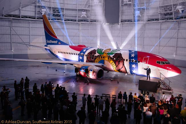 Southwest Airlines CEO Gary Kelly unveiled the airline's latest theme-liveried aircraft, a Boeing 737-700 named Missouri One and painted to honor the State of Missouri, in Kansas City on April 15, 2015