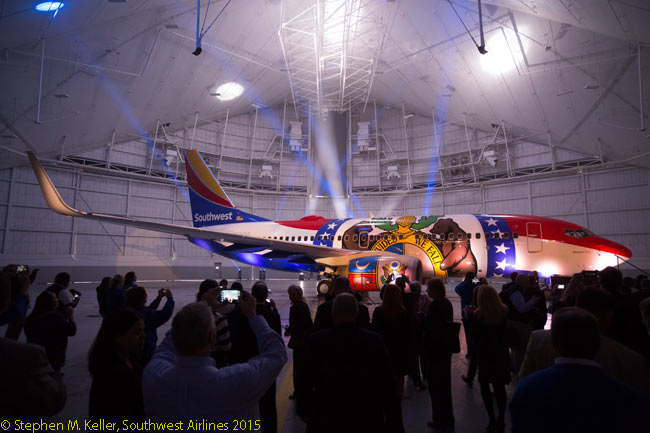 On April 15, 2015, at Kansas City International Airport, Southwest Airlines celebrated more than 30 years of service in the state of Missouri by unveiling its latest theme-livery jet, a Boeing 737-700 named Missouri One. The aircraft's livery is painted with a rendering of the State of Missouri's official flag