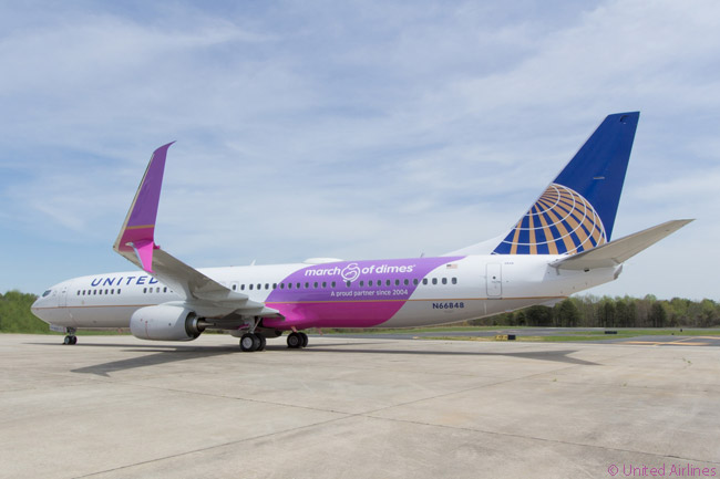 On April 16, 2015, United Airlines took delivery of a new Boeing 737-900ER painted to commemorate a decade of the airline's fund-raising efforts for the 'March of Dimes' charity. The aircraft operated a special flight from Seattle to Chicago carrying a passenger complement composed of customers and United partners who had contributed to the carrier's March of Dimes fund-raising efforts and the group raised $780,000 specifically for the special flight