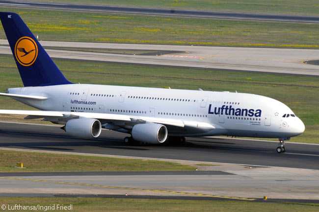 Lufthansa Airbus A380 D-AIME is photographed during its take-off roll on Runway 07/25C at Frankfurt Airport