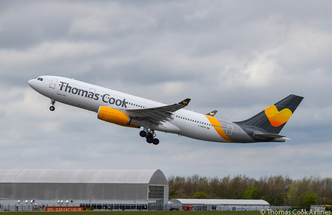 In 2015 UK charter carrier Thomas Cook Airlines created a new livery for its fleet. The carrier calls the livery its 'Sunny Heart' livery and here it is seen to good effect on one of the airline's Airbus A330-200s as the aircraft takes off from Thomas Cook Airlines' main UK long-haul base at Manchester Airport