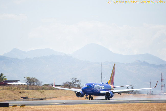 Southwest Airlines' March 7, 2015 inaugural flight to Costa Rica lands at Juan Santamaría International Airport, the airport serving Costa Rica's capital San José