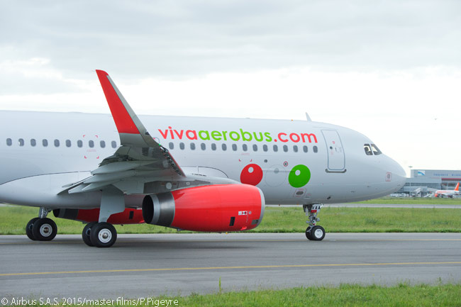 Viva Aerobus' first new Airbus A320 taxis towards the runway at Toulouse Blagnac Airport for its delivery flight on April 15, 2015, following the hand-over of the aircraft to the Mexican ultra-low-cost carrier