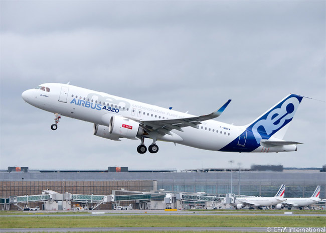 On May 19, 2015, the Airbus A320neo flew for the first time with CFM International LEAP-1A engines. This photograph shows a flight-test A320neo taking off from Toulouse Blagnac Airport on the first flight using the LEAP engines