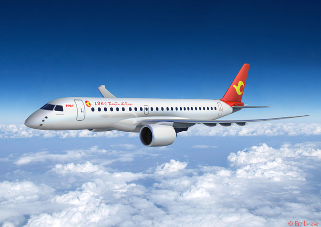 On May 19, 2015, HNA Group subsidiary Tianjin Airlines signed a firm order for 22 Embraer 195s and two Embraer 190-E2s, becoming the first airline in China to order aircraft from the Embraer E-Jets E2 family. A follow-on order for 18 more Embraer 190-E2s was expected to be authorized by the Chinese authorities at a later date