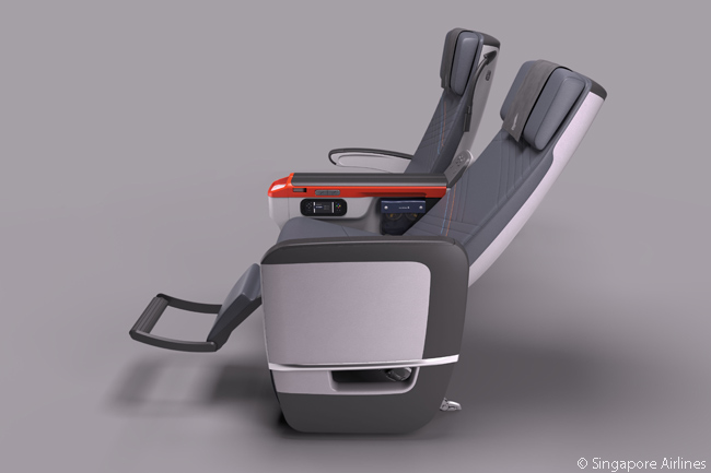 Every one of Singapore Airlines' Premium Economy Class seats has a calf-rest and a foot bar, to provide more comfort when the passenger is reclining. Each seat also has a full-leather finish