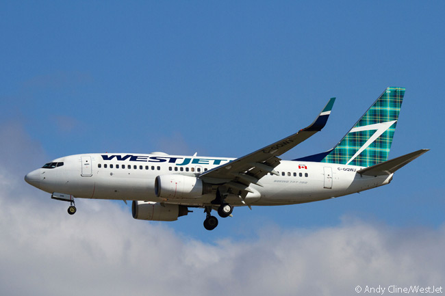 In May 2015, WestJet unveiled a special commemorative tartan to mark the forthcoming launch of its Halifax-Glasgow service, WestJet's first rvice to the UK. The carrier applied decals of the tartan to two of its Boeing 737-700s, one of which was scheduled to operate the route