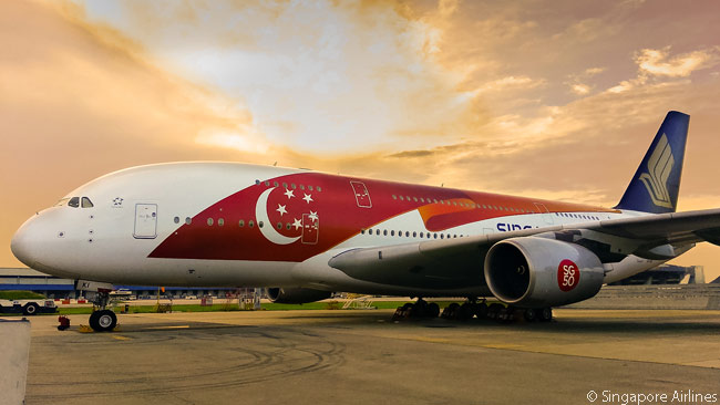 In 2015, Singapore Airlines developed a special 'SG50' Singapore flag-themed livery to mark the nation of Singapore's golden anniversary and applied it to two of its Airbus A380s