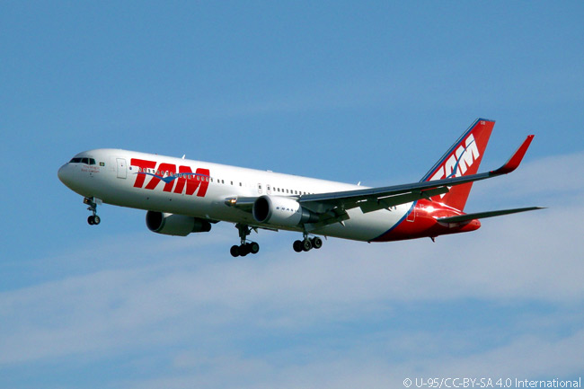 TAM Airlines Boeing 767-300ER PT-MOB is seen in this photograph on final approach to Madrid Barajas Airport