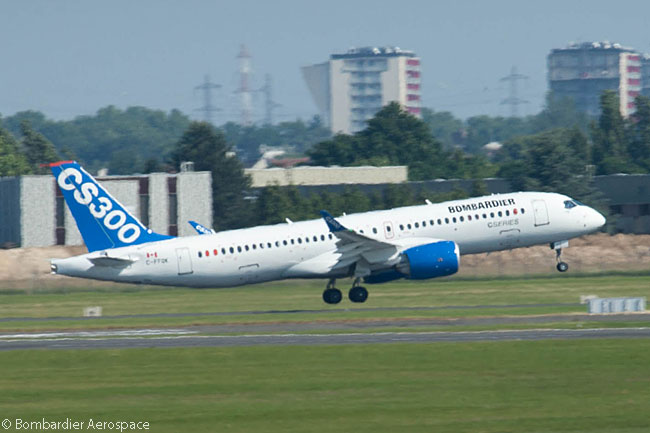 Before its scheduled flying displays at the Paris Air Show 2015, one of the two Bombardier CS300 flight-test aircraft is seen landing after its positioning flight to the show site at Paris Le Bourget Airport