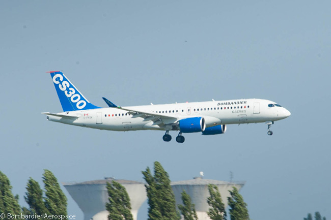 A flight-test Bombardier CS300 performs its final approach to Paris Le Bourget Airport on June 13, 2015. It was scheduled to perform flying displays throughout the following week's Paris Air Show