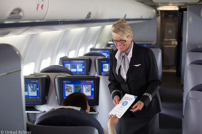 This is the BusinessFirst cabin in one of the Boeing 757s that United Airlines operates its p.s. Premium Service transcontinental sectors linking the New York metropolitan area with Los Angeles and San Francisco