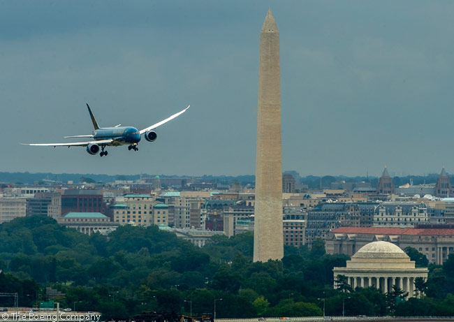 On July 6, 2015, Vietnam Airlines' first Boeing 787-9 makes the final, tight right-hand turn on short final to Washington Reagan National Airport, after making the well-known 'River Approach' which follows the course of the Potomac River to the airport. The twisting approach is required because a straight-in appraoch would see aircraft flying through the restricted airspace over Washington, D.C. and fly low directly over the White House