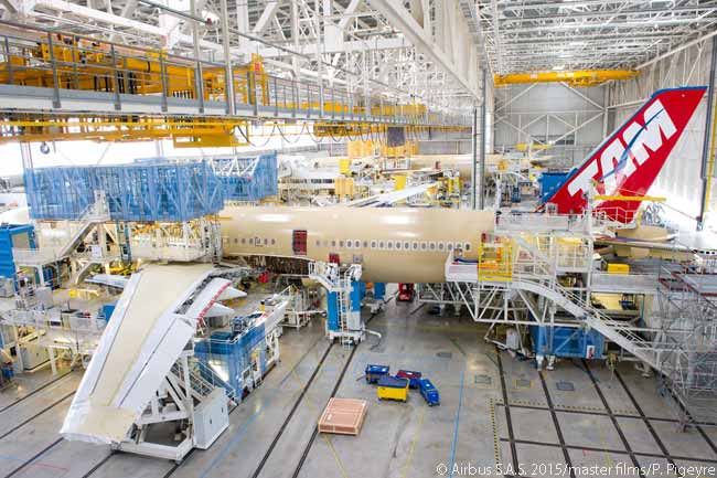 The first Airbus A350-900 for TAM Airlines – which was scheduled to be the first airline in the Americas to fly the Airbus widebody type – entered the A350 XWB final assembly line in Toulouse in early May 2015. TAM Airlines was due to take delivery of its first A350-900 in December 2015