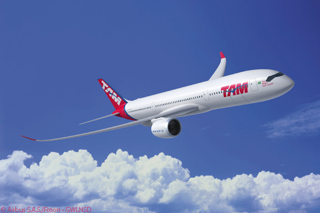 By mid-2015, TAM Airlines of Brazil had placed firm orders for 27 Airbus A350-900s and had secured purchase options on five more