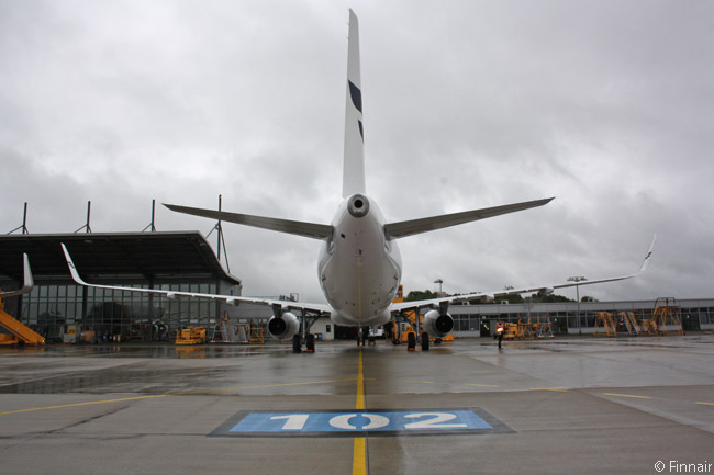 This Sharklet equipped Finnair Airbus A321 is photographed from behind at the airline's main base at Helsinki-Vantaa Airport