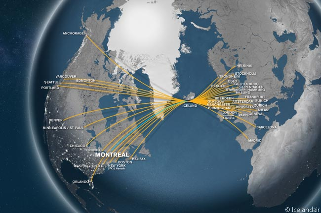 Icelandair is unique in having a mid-Atlantic hub which conveniently connects 15 North American destinations with 26 destinations in Europe, as well as Iceland itself. Its hub at Keflavik International Airport allows Icelandair to have one of the most extensive transatlantic networks of any carrier