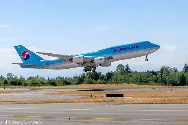 Korean Air took delivery on August 25, 2015 of the first of 10 Boeing 747-8 Intercontinental widebodies it had ordered