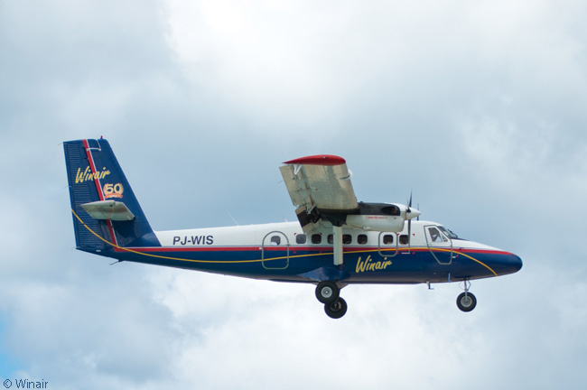 Winair's Twin Otters fly in a variety of liveries, but the airline is gradually standardizing on an attractive dark blue, red, yellow and white color scheme