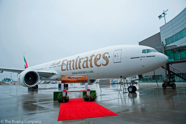 On September 3, 2015, Emirates Airline took delivery of two Boeing 777-300ERs and one 777F simultaneously. Boeing said the triple delivery was the first time in 15 years it had delivered three 777s at one time to a single customer
