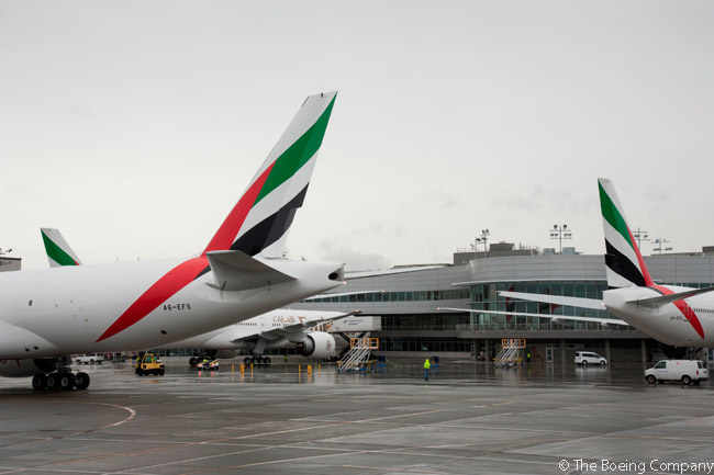 Taking delivery of three new Boeing 777s (two 777-300ERs and one 777F) simultaneously on September 3, 2015, brought Emirates Airline's total fleet of 777s up to 150 aircraft