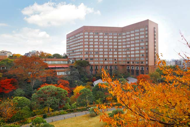 One of the major attractions of the Hotel Chinzanso Tokyo is that, even though it is housed in a post-war building, the hotel is located next to the beautiful, historic, 17-acre Chinzanso Garden. In autumn, the colors of the leaves in the garden become spectacularly vivid