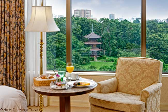 Garden View Rooms in the Hotel Chinzanso Tokyo look out over the Chinzanso Garden, a historical Botanical garden which provides an oasis of tranquility in the heart of the world's largest metropolitan area