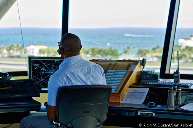 A representation of part of the pentagonal volume of airspace which Julian Air Traffic Services controls can clearly be seen on the screen this JATS controller in the SXM Airport tower is studying