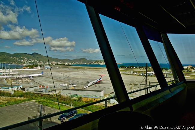 The control tower at Princess Juliana International Airport is home to Juliana Air Traffic Services, which controls a pentagon-shaped volume of airspace over and around the island of Saint Martin in the Eastern Caribbean