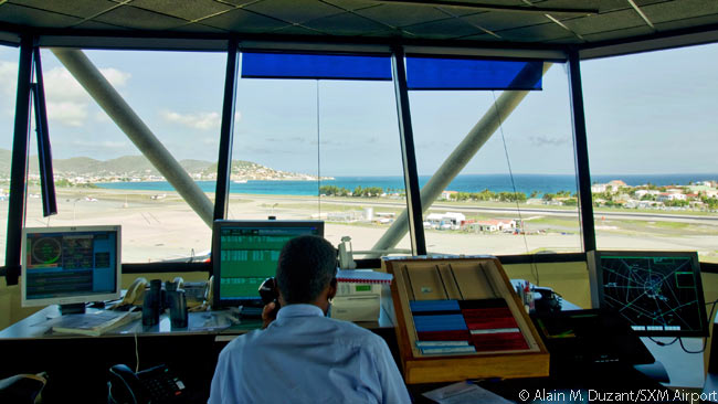 The control tower at Sint Maarten's SXM Airport not only has has a superb view of the airport's entire movement surface, but also excellent views of aircraft on approach and after departure