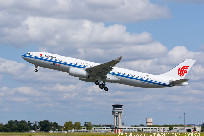 On September 7, 2015, Air China's 50th Airbus A330 performed its maiden flight. The aircraft was the first A330-300 for Air China with the new, higher 242-tonne maximum take-off gross weight, which allows up to 500nm of additional range