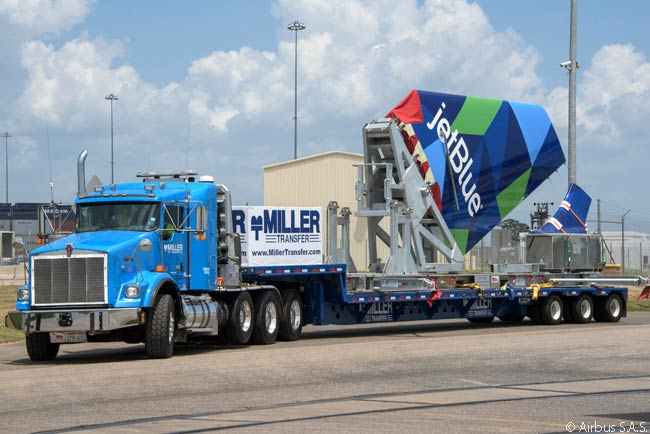 The first large aircraft components arrived at the Airbus U.S. Manufacturing Facility in Mobile, Alabama in July 2015. The new site was scheduled to deliver its first aircraft – an A321 – to JetBlue Airways in 2016