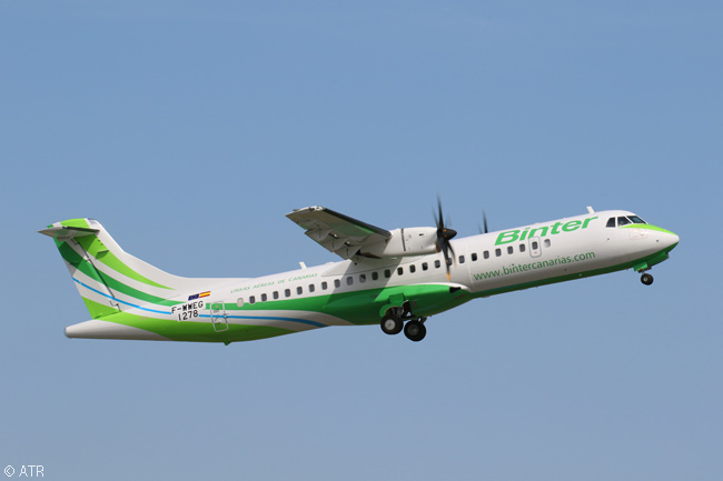 On September 16, 2015, Canary Islands-based regional carrier Binter took delivery of the first of 12 ATR 72-600s it had ordered. This photo shows the aircraft on a pre-delivery test flight